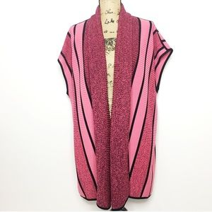 Exclusively Misook Pink Black Striped Cardigan